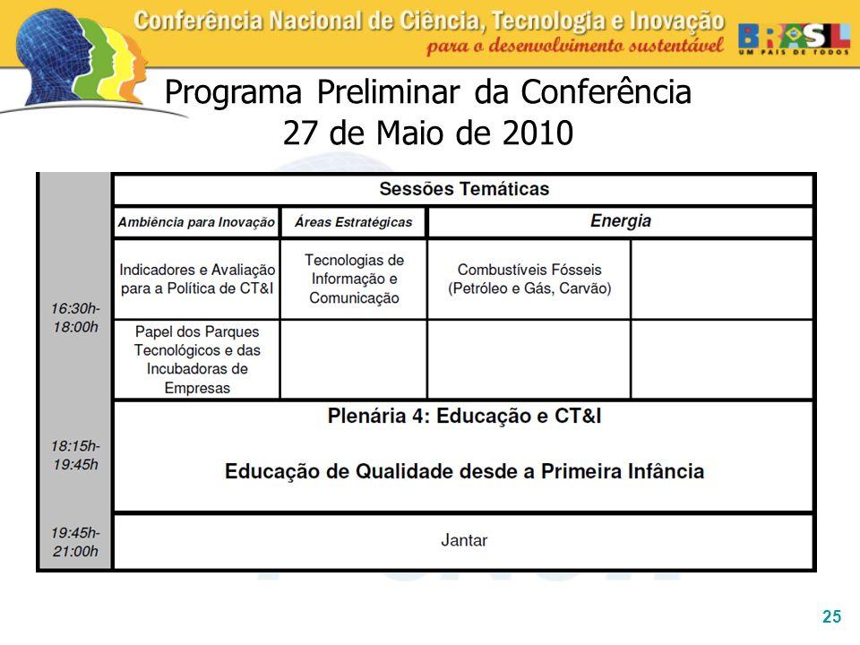 Programa Preliminar da Conferência 27 de Maio de 2010