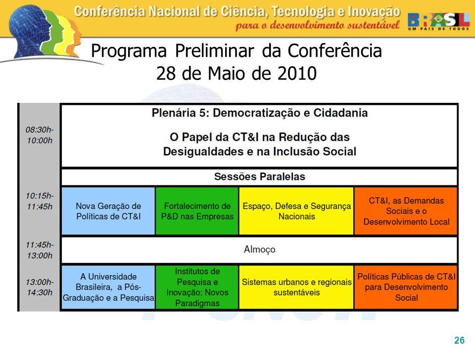 Programa Preliminar da Conferência 28 de Maio de 2010