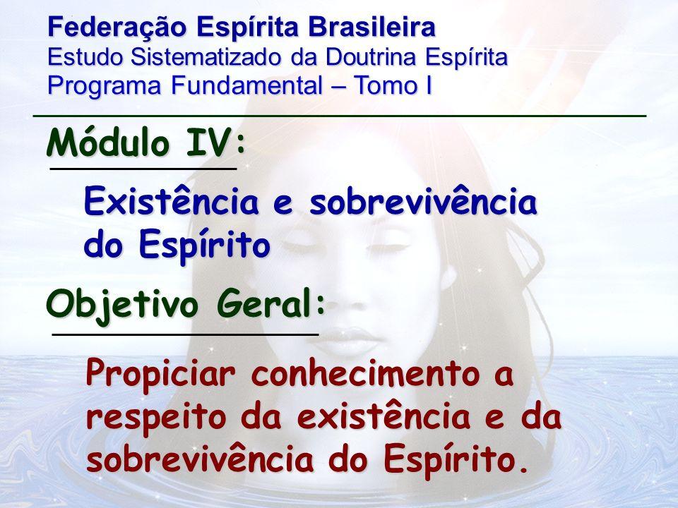 Módulo IV: Objetivo Geral: Existência e sobrevivência do Espírito