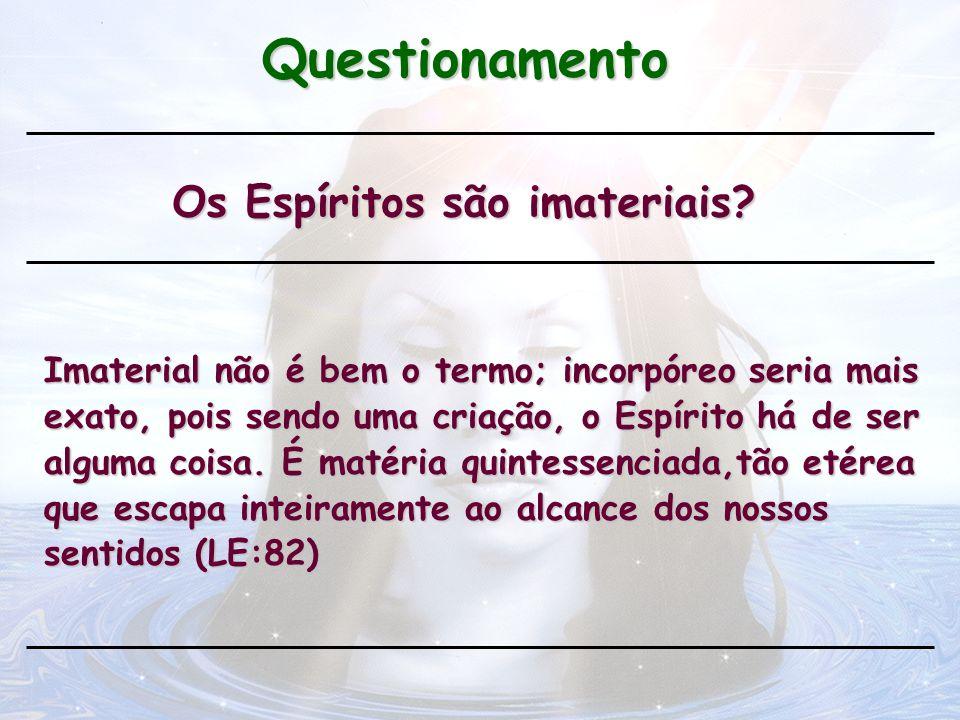 Questionamento Os Espíritos são imateriais