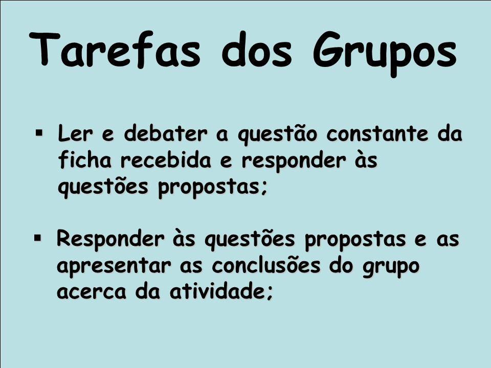 Tarefas dos Grupos Ler e debater a questão constante da ficha recebida e responder às questões propostas;