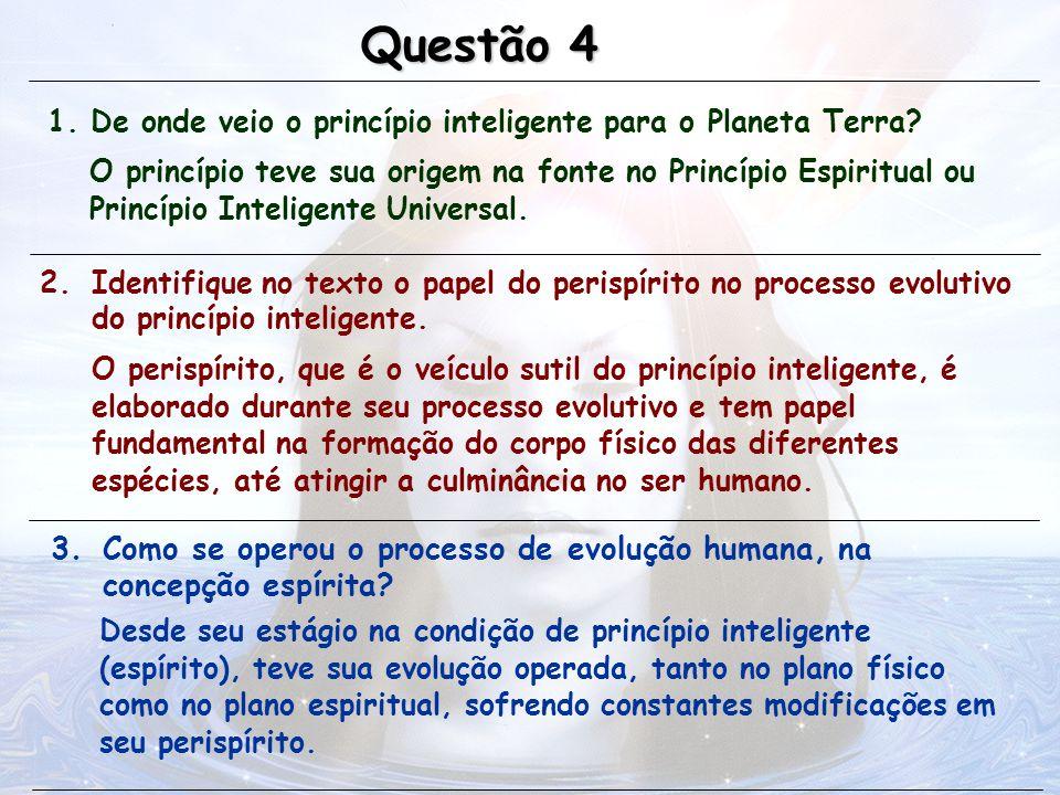 Questão 4 1. De onde veio o princípio inteligente para o Planeta Terra
