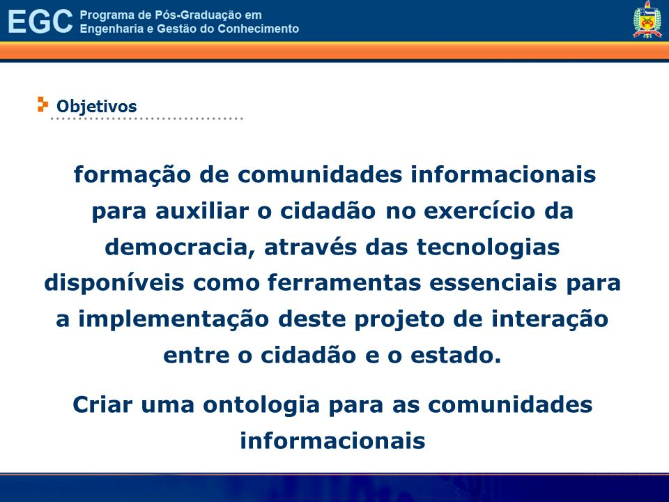 Criar uma ontologia para as comunidades informacionais