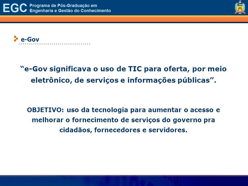 ...................................e-Gov. e-Gov significava o uso de TIC para oferta, por meio eletrônico, de serviços e informações públicas .