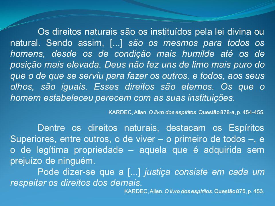 Os direitos naturais são os instituídos pela lei divina ou natural