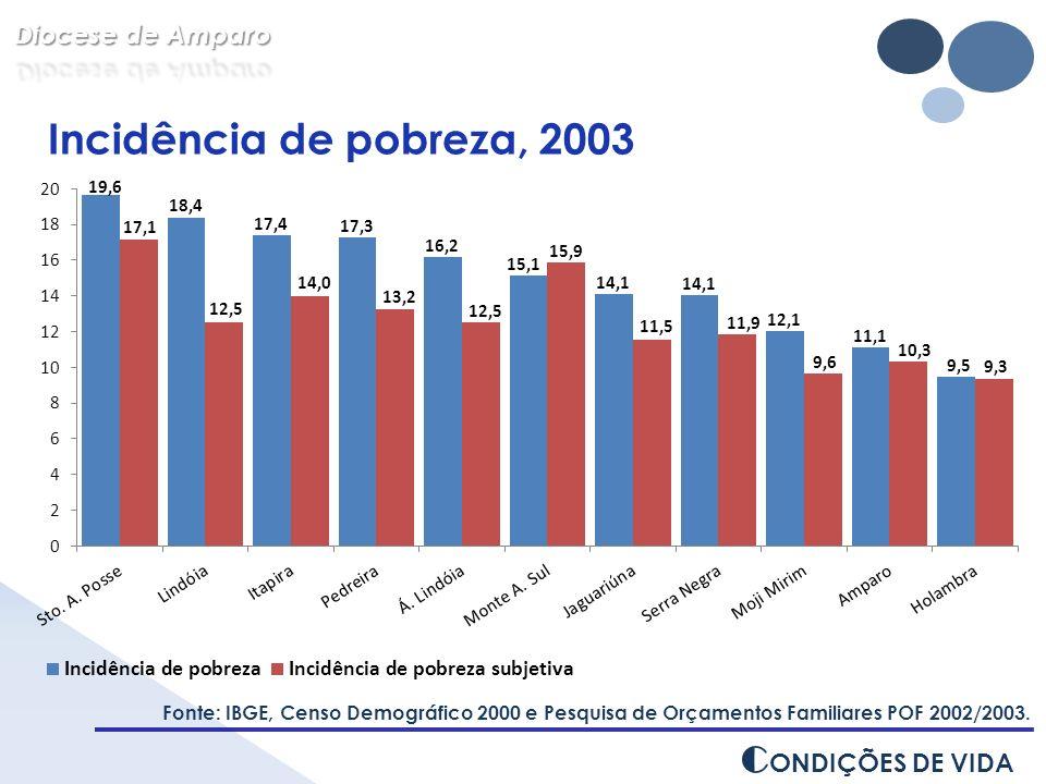 Incidência de pobreza, 2003 CONDIÇÕES DE VIDA Diocese de Amparo