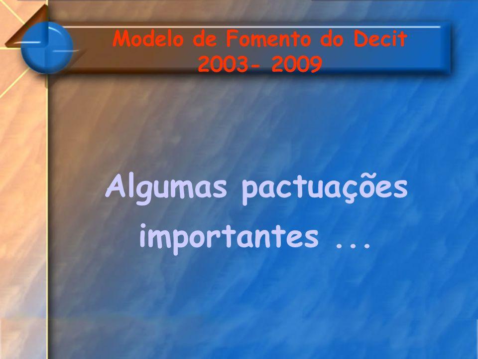 Modelo de Fomento do Decit 2003- 2009