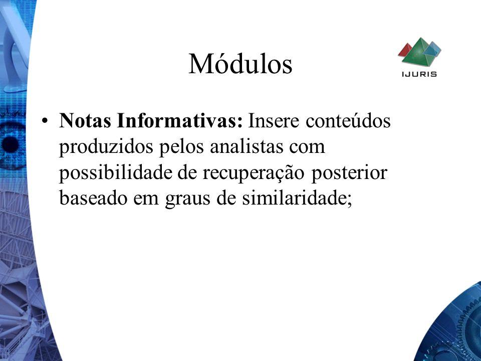 Módulos Notas Informativas: Insere conteúdos produzidos pelos analistas com possibilidade de recuperação posterior baseado em graus de similaridade;