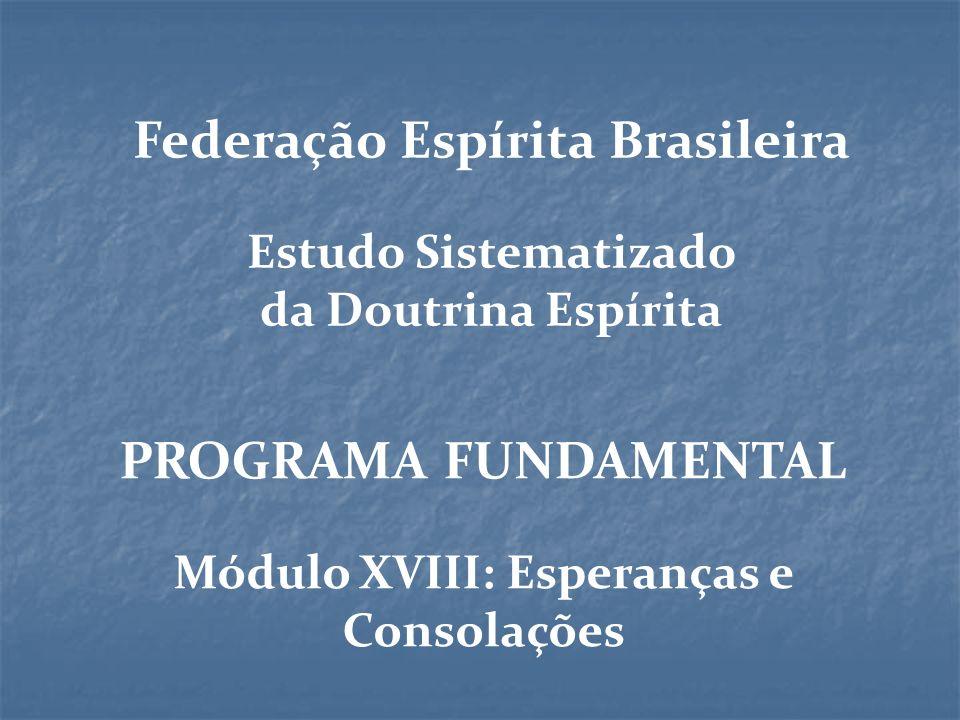 Federação Espírita Brasileira Módulo XVIII: Esperanças e Consolações