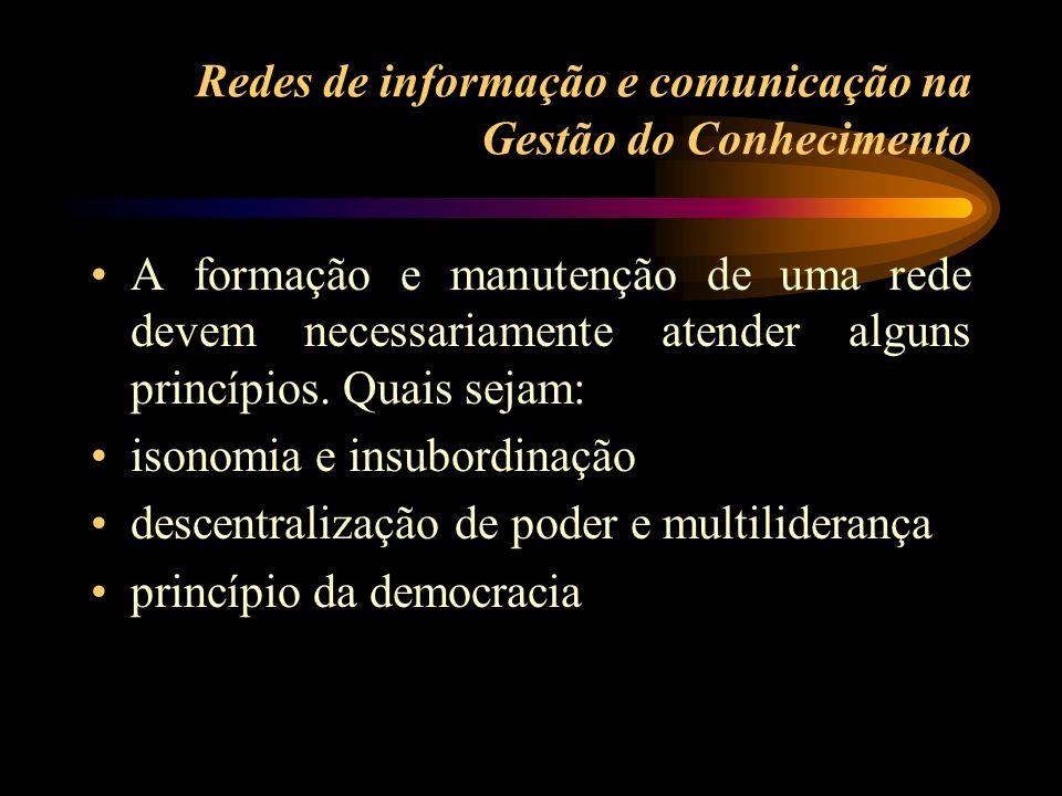 Redes de informação e comunicação na Gestão do Conhecimento