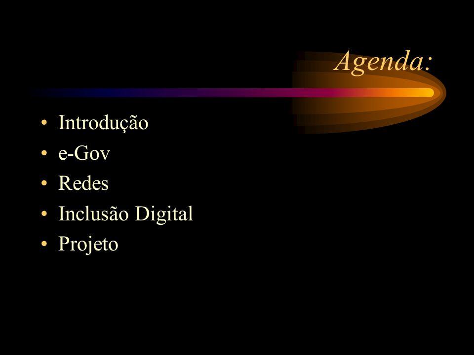 Agenda: Introdução e-Gov Redes Inclusão Digital Projeto
