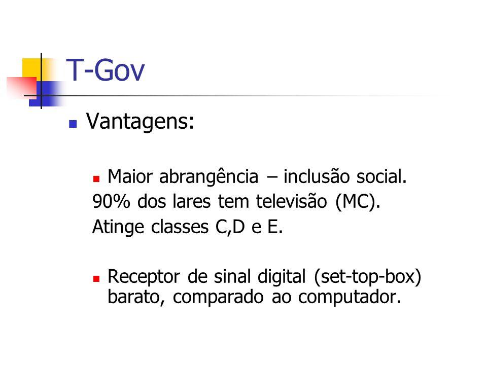 T-Gov Vantagens: Maior abrangência – inclusão social.