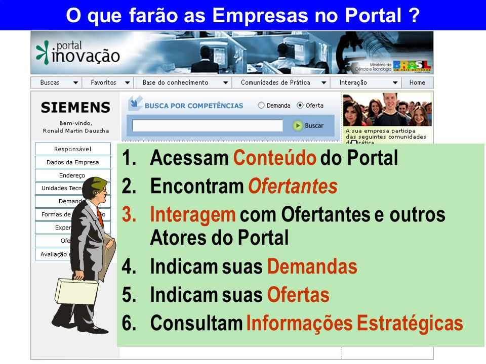 O que farão as Empresas no Portal