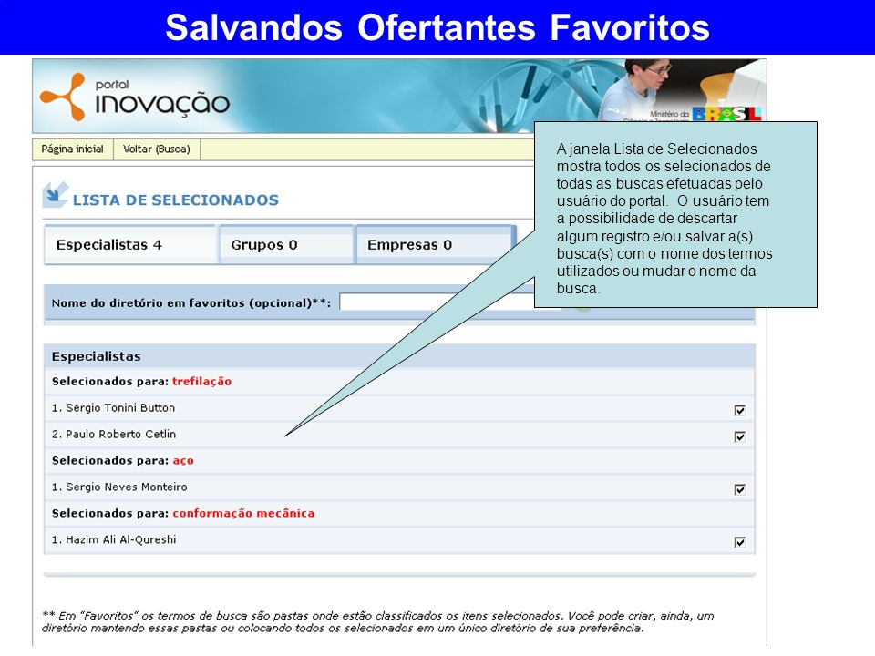 Salvandos Ofertantes Favoritos