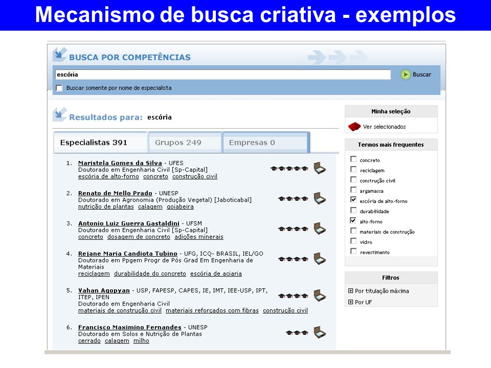 Mecanismo de busca criativa - exemplos