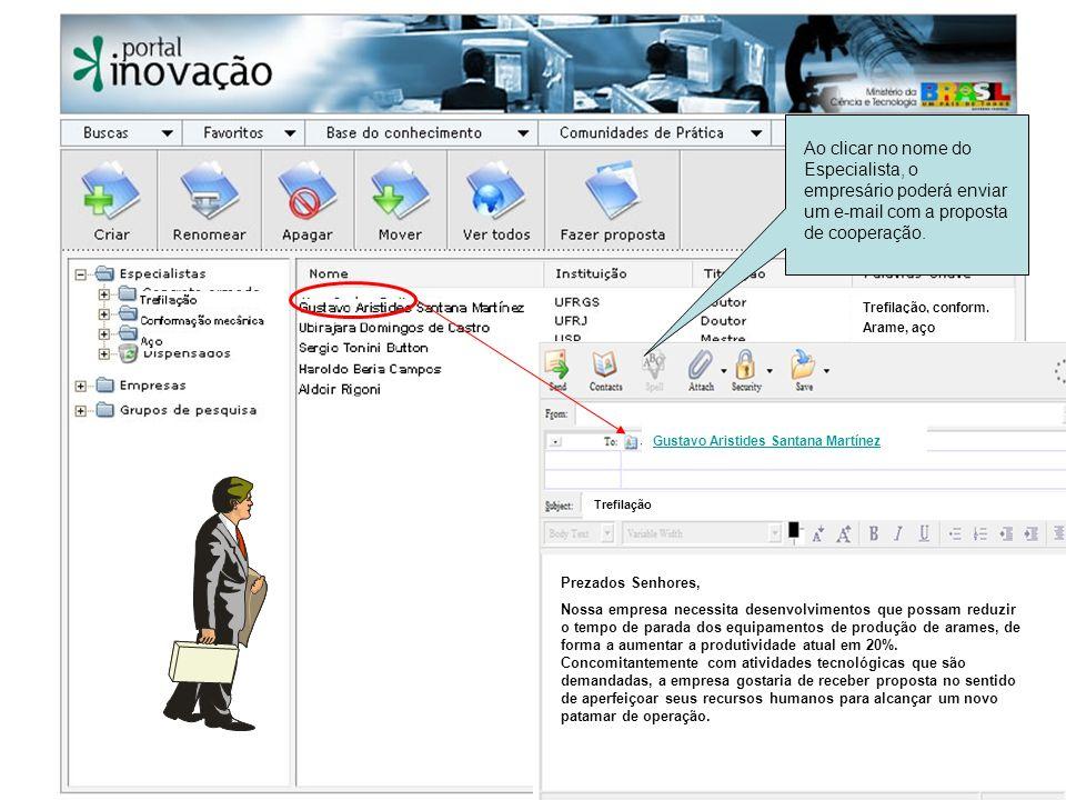 Ao clicar no nome do Especialista, o empresário poderá enviar um e-mail com a proposta de cooperação.