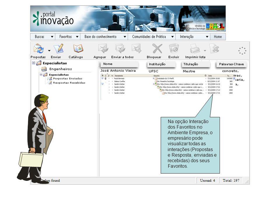 Na opção Interação dos Favoritos no Ambiente Empresa, o empresário pode visualizar todas as interações (Propostas e Resposta, enviadas e recebidas) dos seus Favoritos.