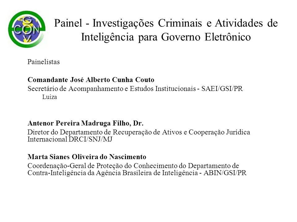 Painel - Investigações Criminais e Atividades de Inteligência para Governo Eletrônico