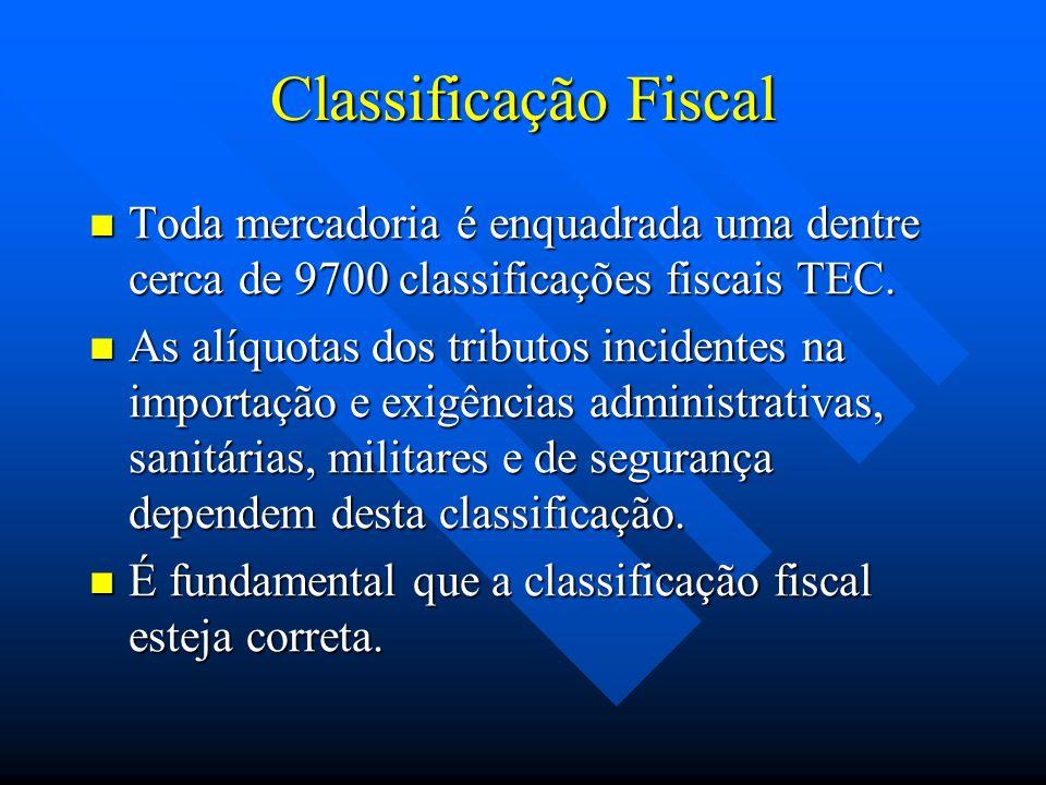 Classificação Fiscal Toda mercadoria é enquadrada uma dentre cerca de 9700 classificações fiscais TEC.