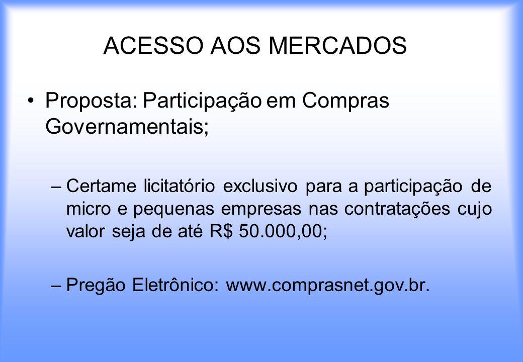 ACESSO AOS MERCADOS Proposta: Participação em Compras Governamentais;