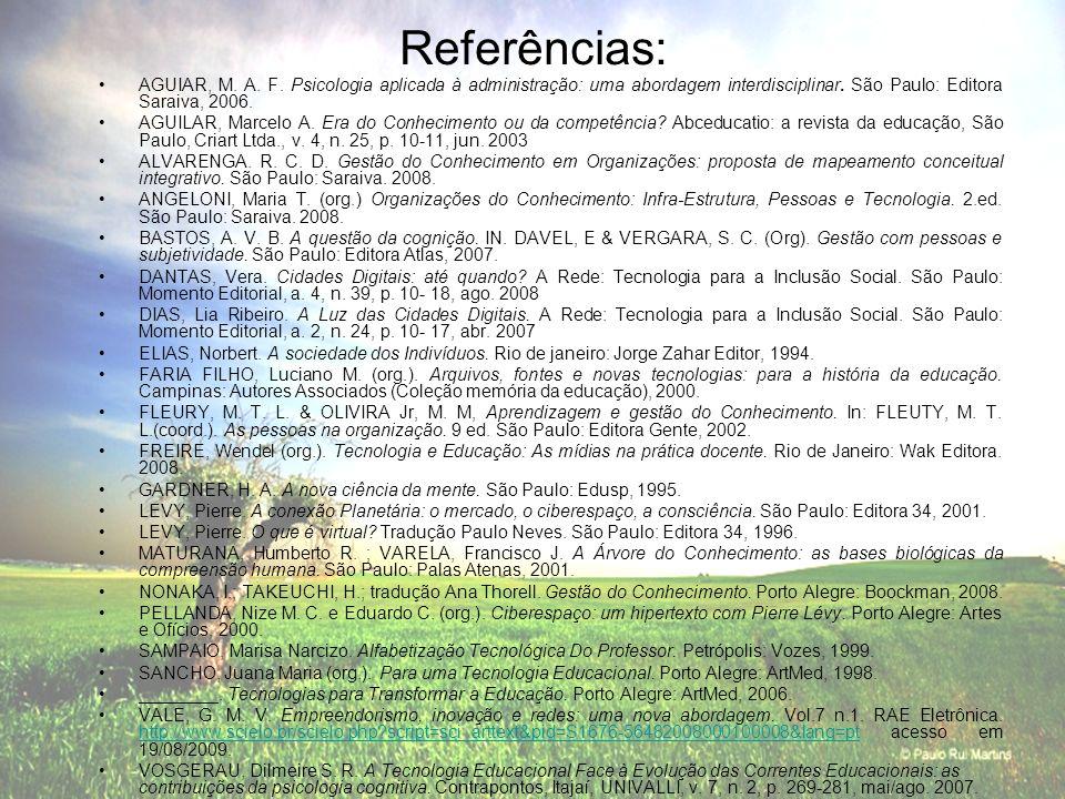 Referências:AGUIAR, M. A. F. Psicologia aplicada à administração: uma abordagem interdisciplinar. São Paulo: Editora Saraiva, 2006.