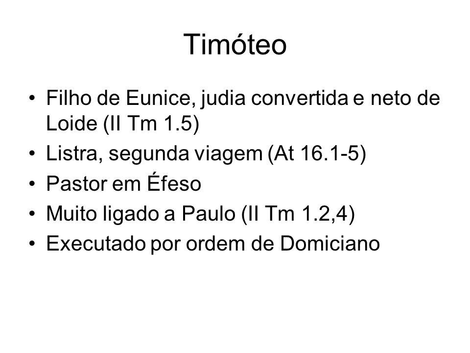 Timóteo Filho de Eunice, judia convertida e neto de Loide (II Tm 1.5)