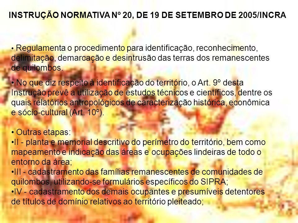 INSTRUÇÃO NORMATIVA Nº 20, DE 19 DE SETEMBRO DE 2005/INCRA