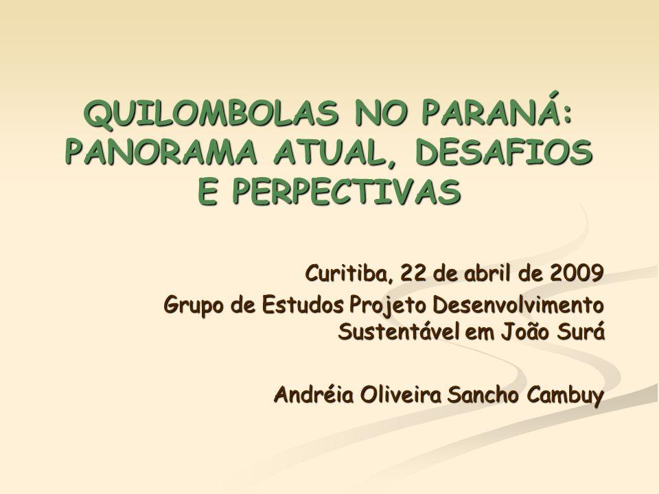 QUILOMBOLAS NO PARANÁ: PANORAMA ATUAL, DESAFIOS E PERPECTIVAS