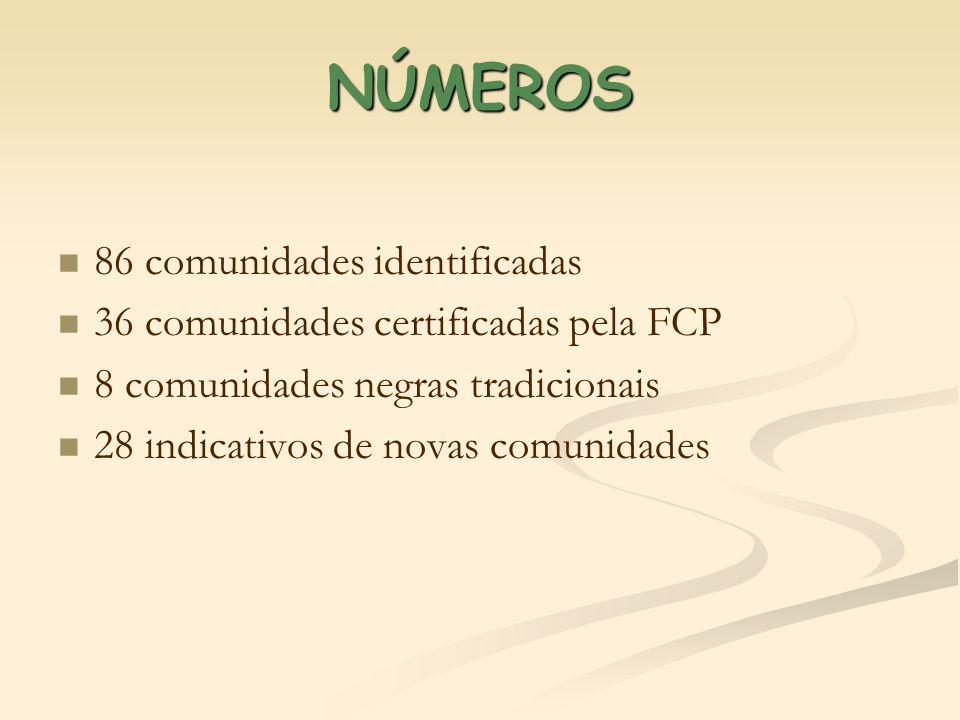 NÚMEROS 86 comunidades identificadas