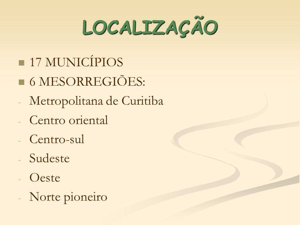 LOCALIZAÇÃO 17 MUNICÍPIOS 6 MESORREGIÕES: Metropolitana de Curitiba