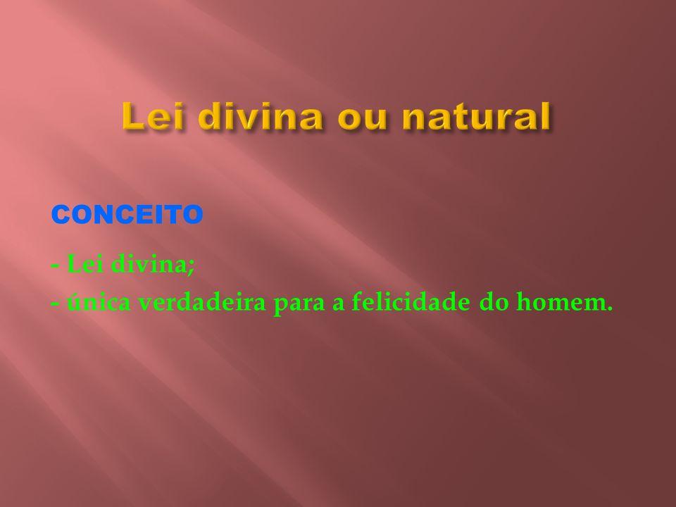 Lei divina ou natural CONCEITO - Lei divina; - única verdadeira para a felicidade do homem.