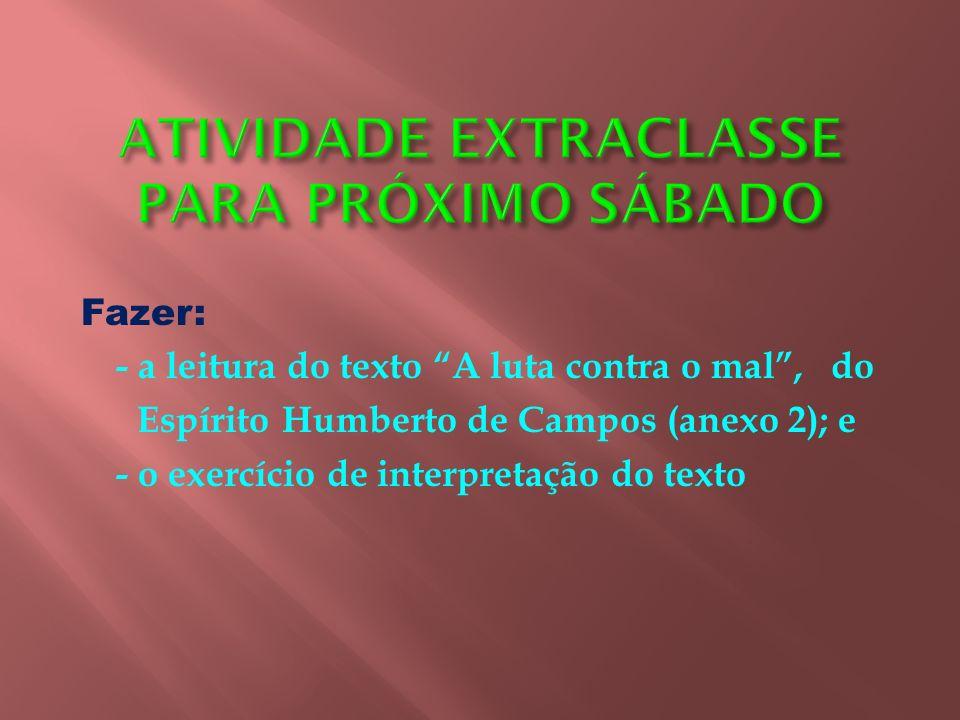 ATIVIDADE EXTRACLASSE PARA PRÓXIMO SÁBADO