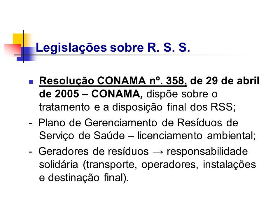 Legislações sobre R. S. S.Resolução CONAMA nº. 358, de 29 de abril de 2005 – CONAMA, dispõe sobre o tratamento e a disposição final dos RSS;