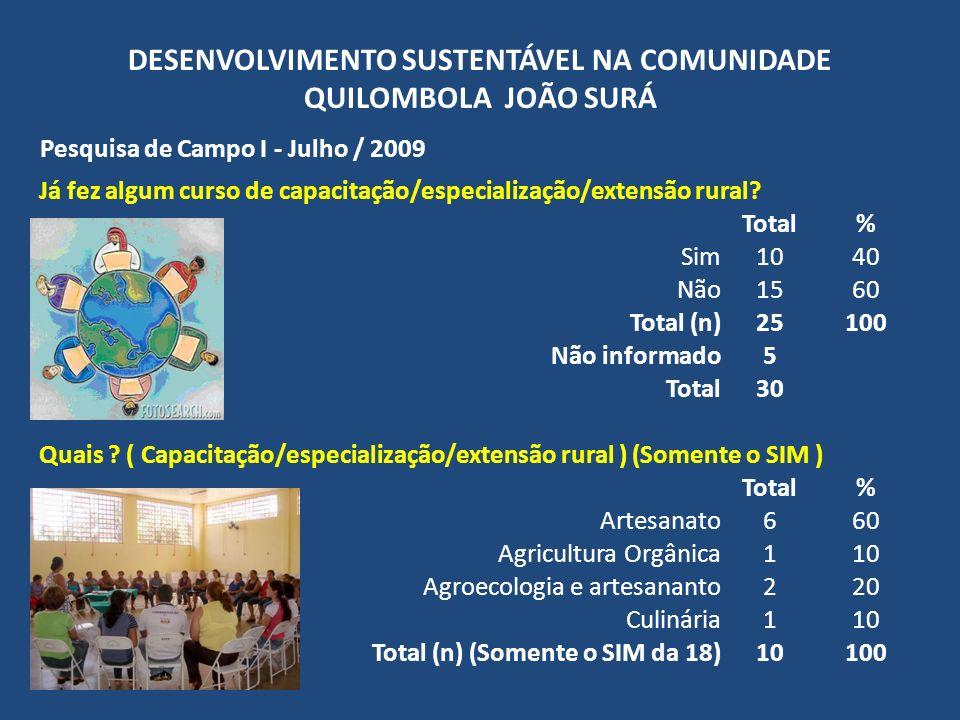 DESENVOLVIMENTO SUSTENTÁVEL NA COMUNIDADE QUILOMBOLA JOÃO SURÁ