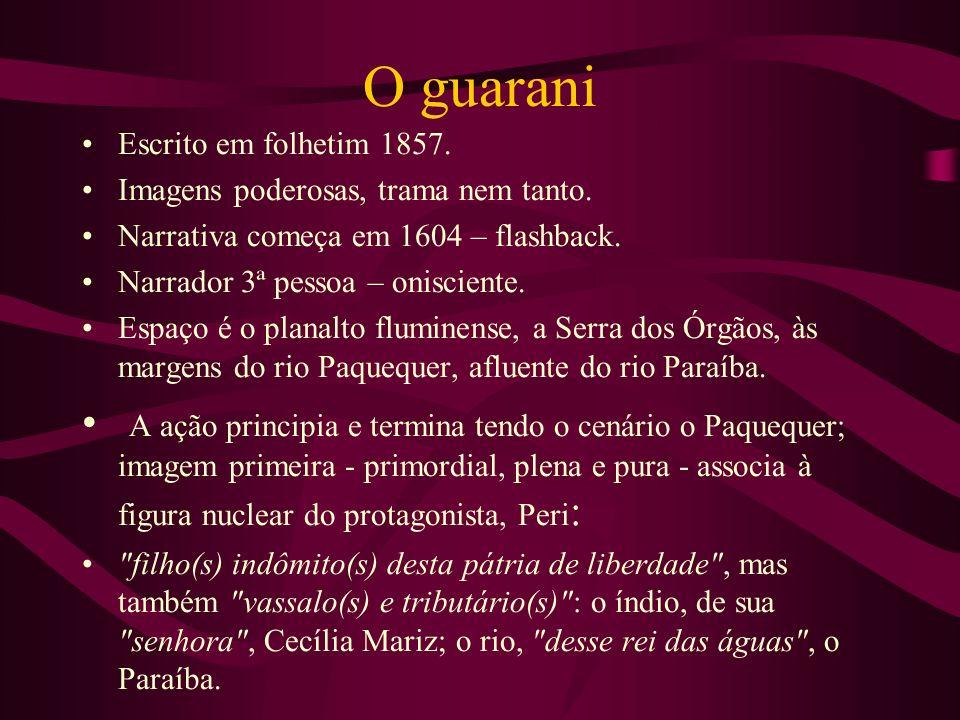 O guarani Escrito em folhetim 1857. Imagens poderosas, trama nem tanto. Narrativa começa em 1604 – flashback.