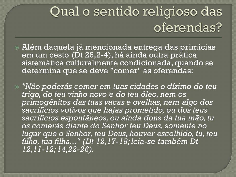 Qual o sentido religioso das oferendas