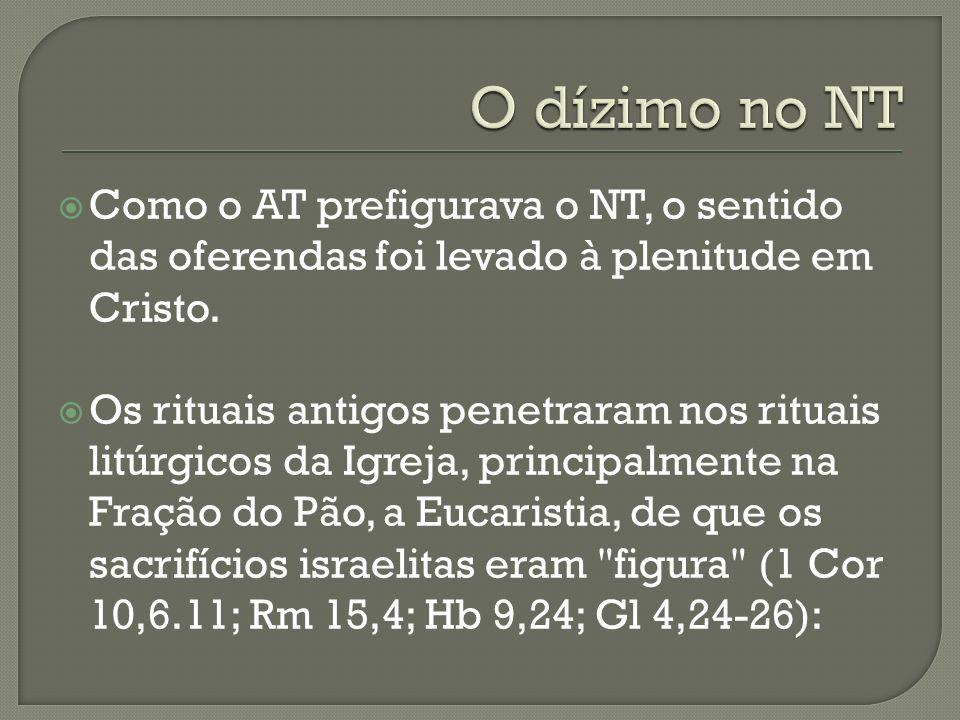 O dízimo no NT Como o AT prefigurava o NT, o sentido das oferendas foi levado à plenitude em Cristo.