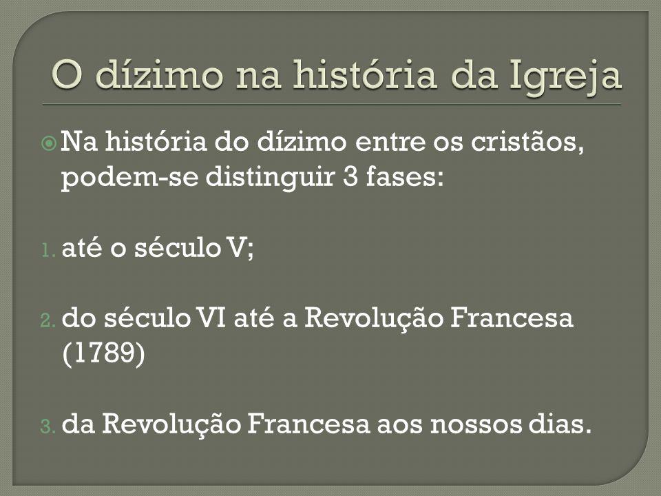 O dízimo na história da Igreja
