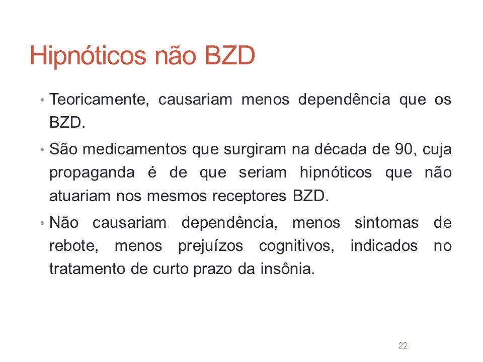Hipnóticos não BZD Teoricamente, causariam menos dependência que os BZD.