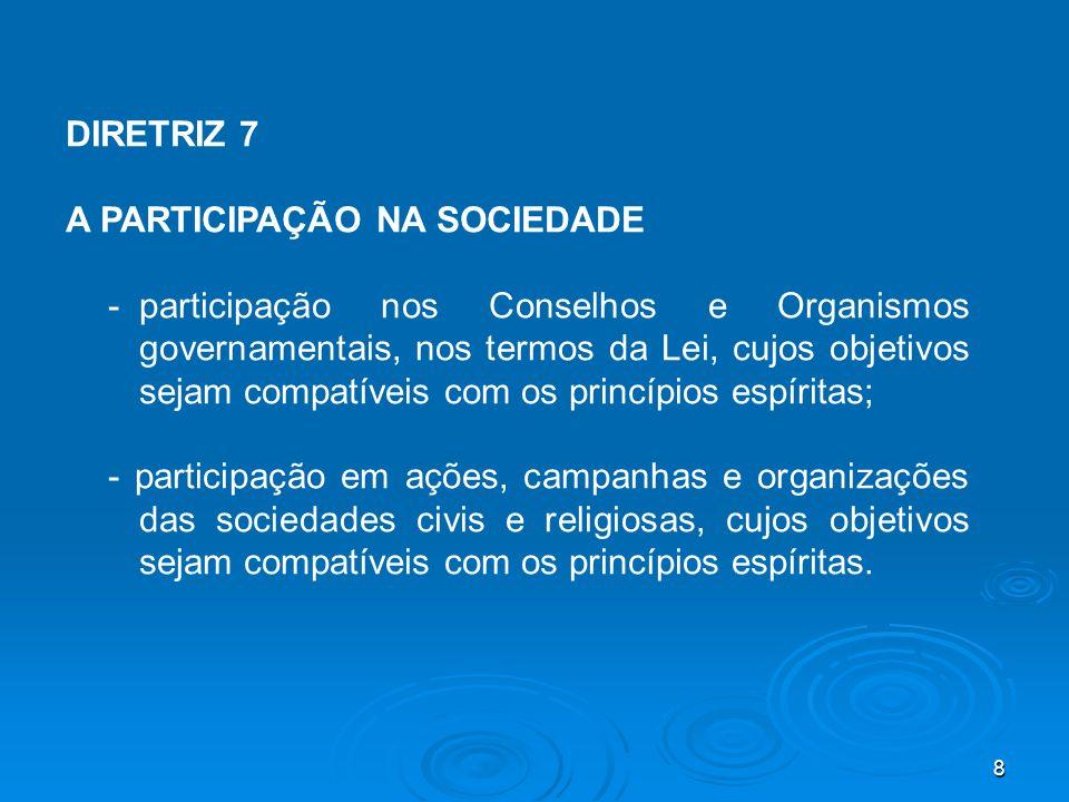 DIRETRIZ 7 A PARTICIPAÇÃO NA SOCIEDADE.