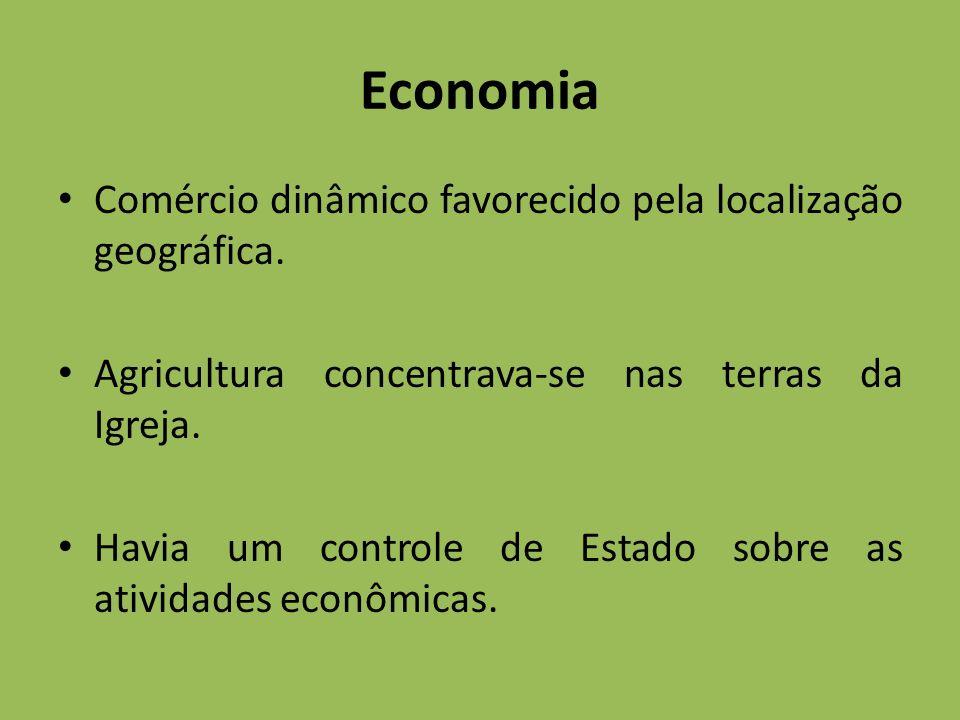 Economia Comércio dinâmico favorecido pela localização geográfica.