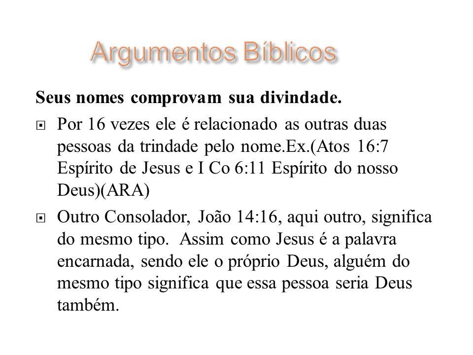 Argumentos Bíblicos Seus nomes comprovam sua divindade.