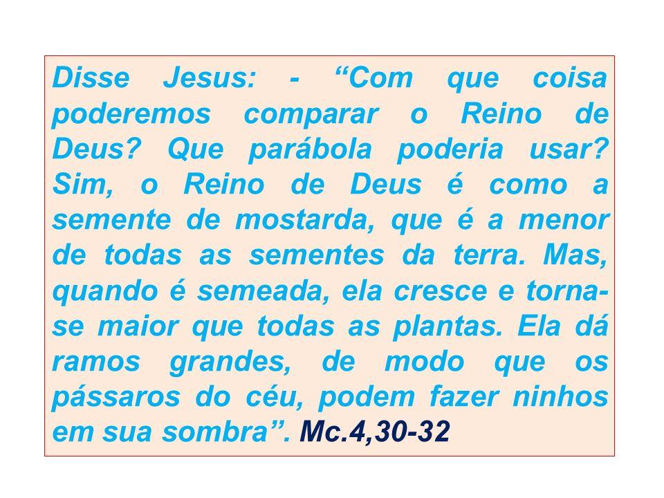 Disse Jesus: - Com que coisa poderemos comparar o Reino de Deus