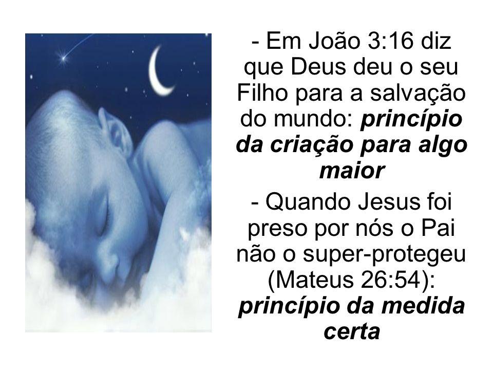 - Em João 3:16 diz que Deus deu o seu Filho para a salvação do mundo: princípio da criação para algo maior