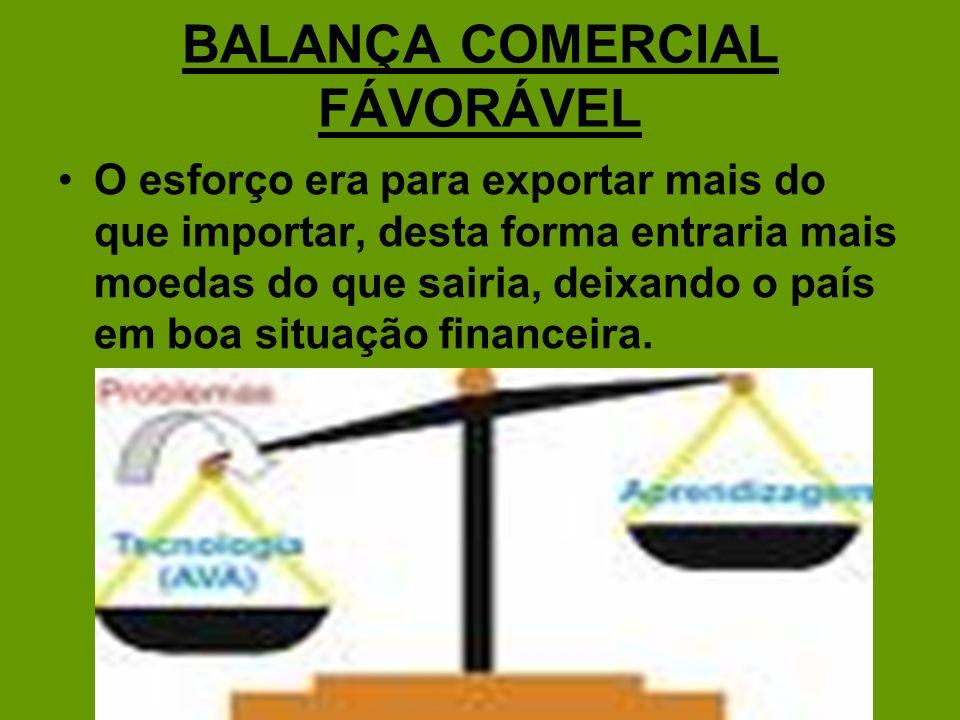 BALANÇA COMERCIAL FÁVORÁVEL
