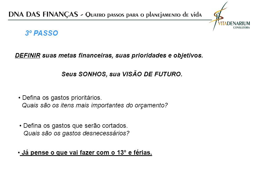 3º PASSO DEFINIR suas metas financeiras, suas prioridades e objetivos.