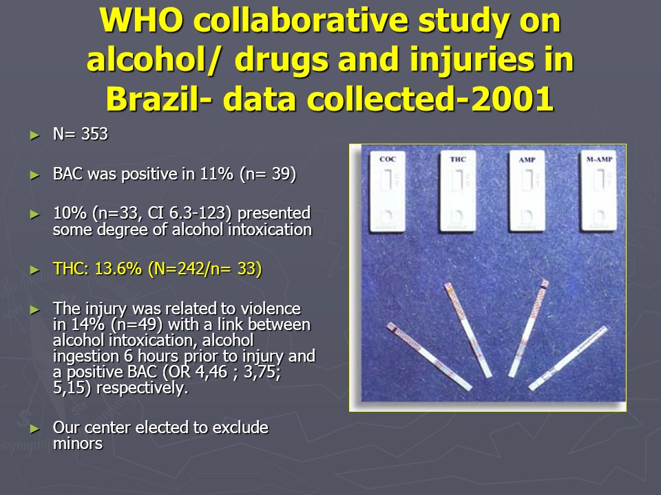 WHO collaborative study on alcohol/ drugs and injuries in Brazil- data collected-2001