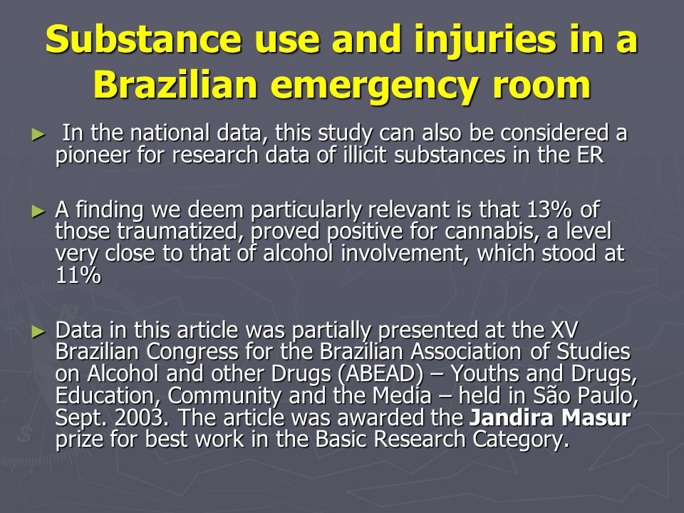 Substance use and injuries in a Brazilian emergency room