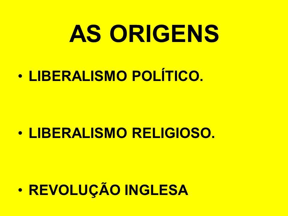 AS ORIGENS LIBERALISMO POLÍTICO. LIBERALISMO RELIGIOSO.