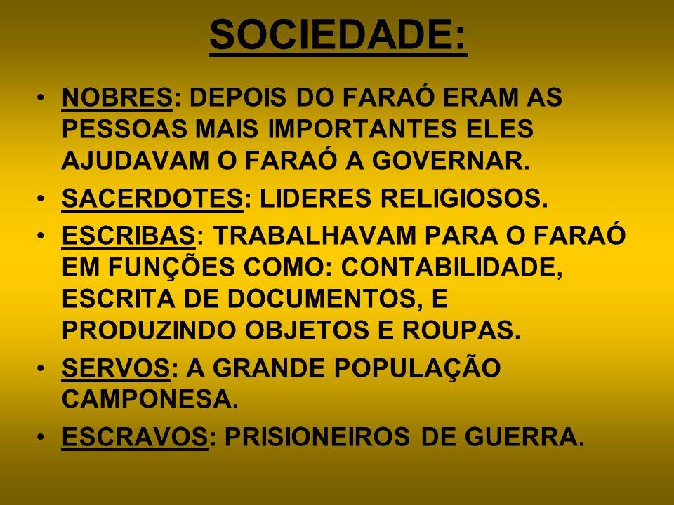 SOCIEDADE:NOBRES: DEPOIS DO FARAÓ ERAM AS PESSOAS MAIS IMPORTANTES ELES AJUDAVAM O FARAÓ A GOVERNAR.